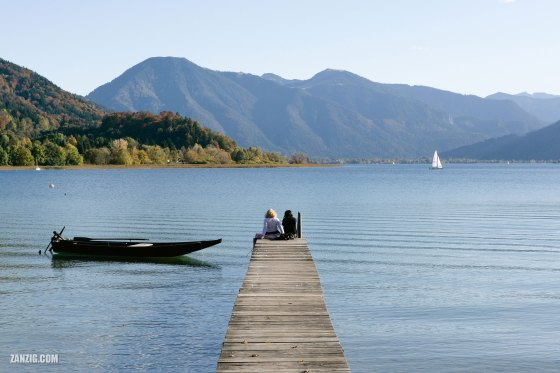 Spectacular view across Lake Tegernsee in Bavaria, Germany